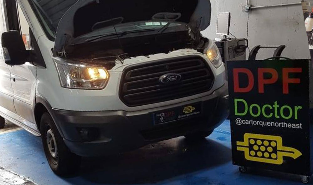 Ford Transit with blocked DPF in for Repair & Clean