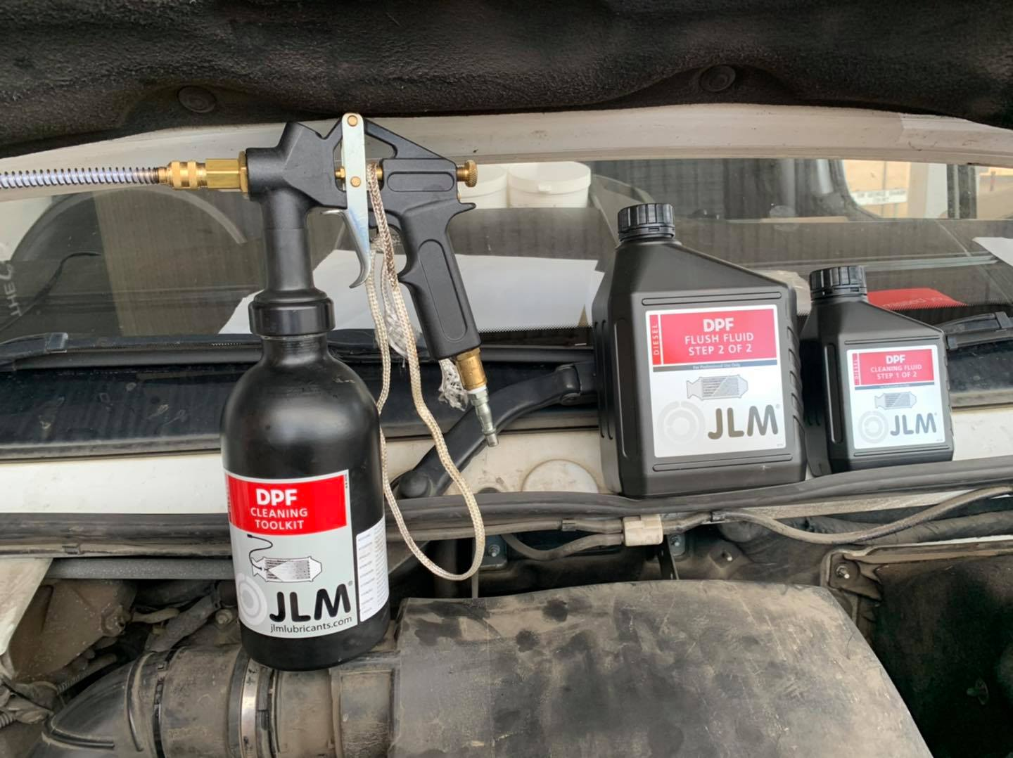 DPF Cleaning with JLM products on display on a mercedes sprinter