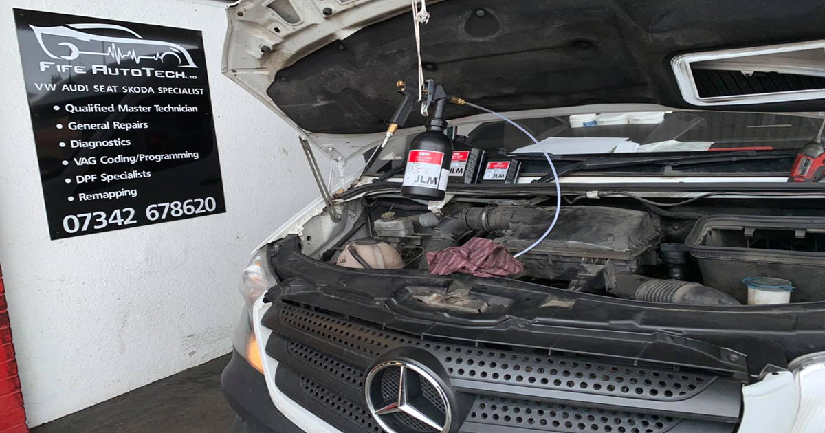 Mercedes Sprinter with blocked DPF in for a DPF Clean in Fife